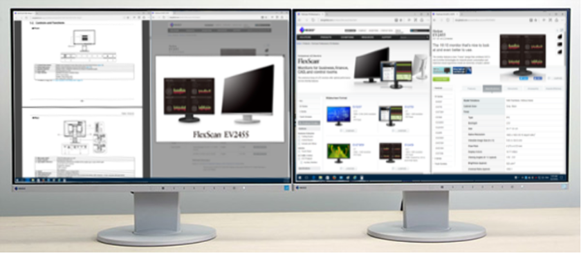 The expanded display of two EIZO FlexScan EV2455 monitors connected to a desktop PC